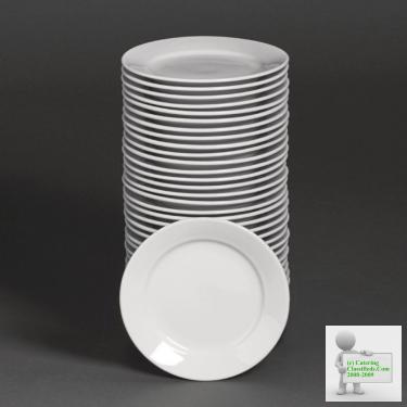 Bulk Buy Pack of 36 Athena Hotelware Wide Rimmed Plates 165mm