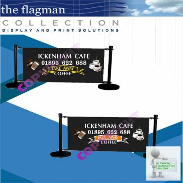 CUSTOM PRINTED CAFE BARRIERS / FEATHER FLAGS