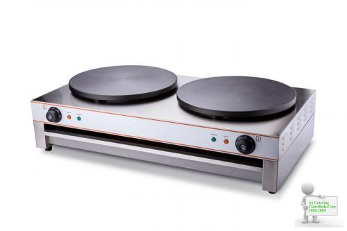 COMMERCIAL ELECTRIC DOUBLE CREPE MAKER PANCAKE MACHINE WITH DOUBLE PLUGS